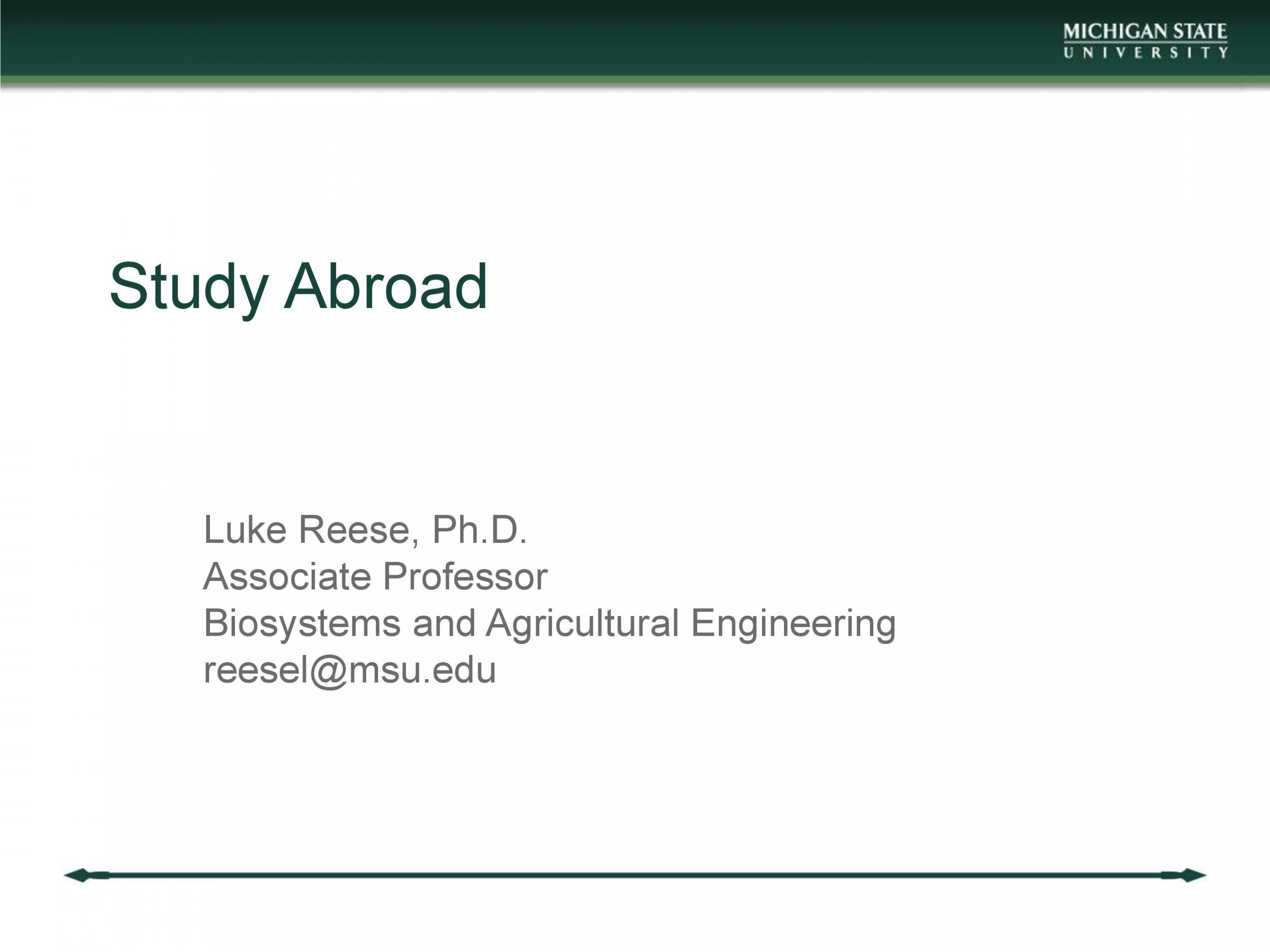 Page 1 of Study Abroad: Ecological Engineering