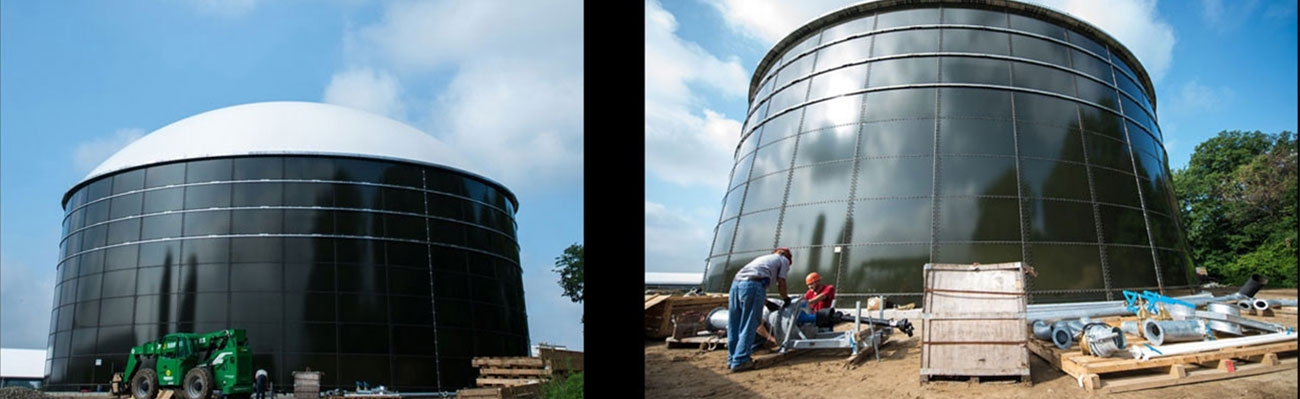 Two views of the South Campus Anaerobic Digester