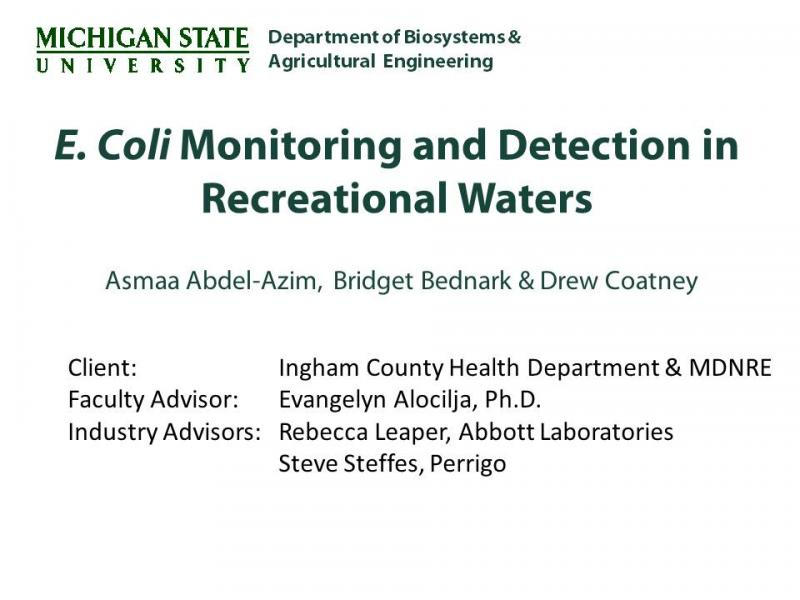 Ecoli Monitoring Team