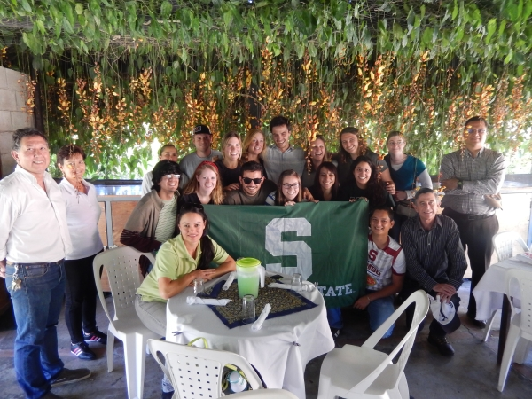 2014 Ecological Engineering in the Tropic Costa Rica group enjoying traditional lunch at Coopedota Coffee Cooperative