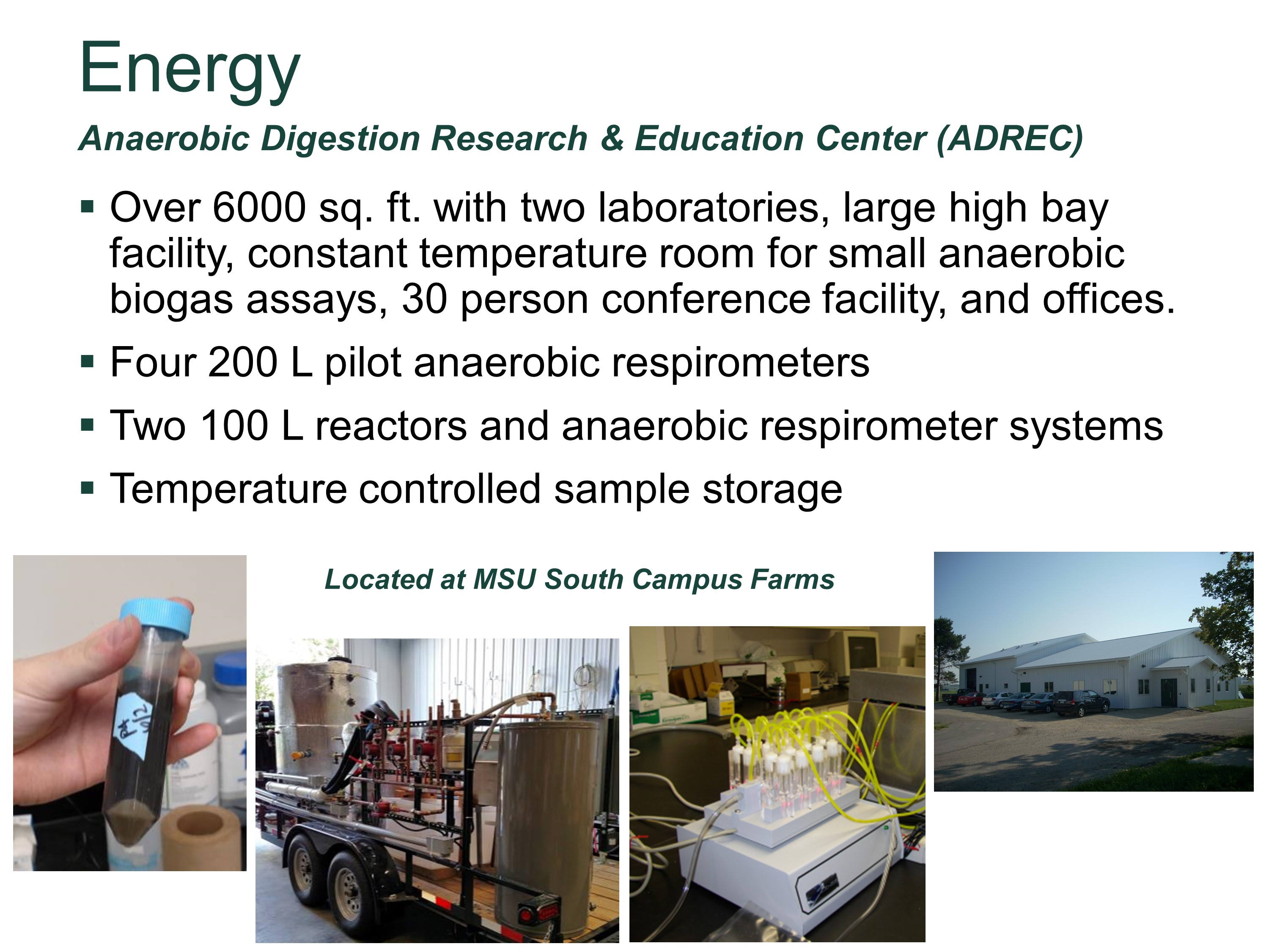 MSU Anaerobic Digestion Research and Education Center (ADREC)