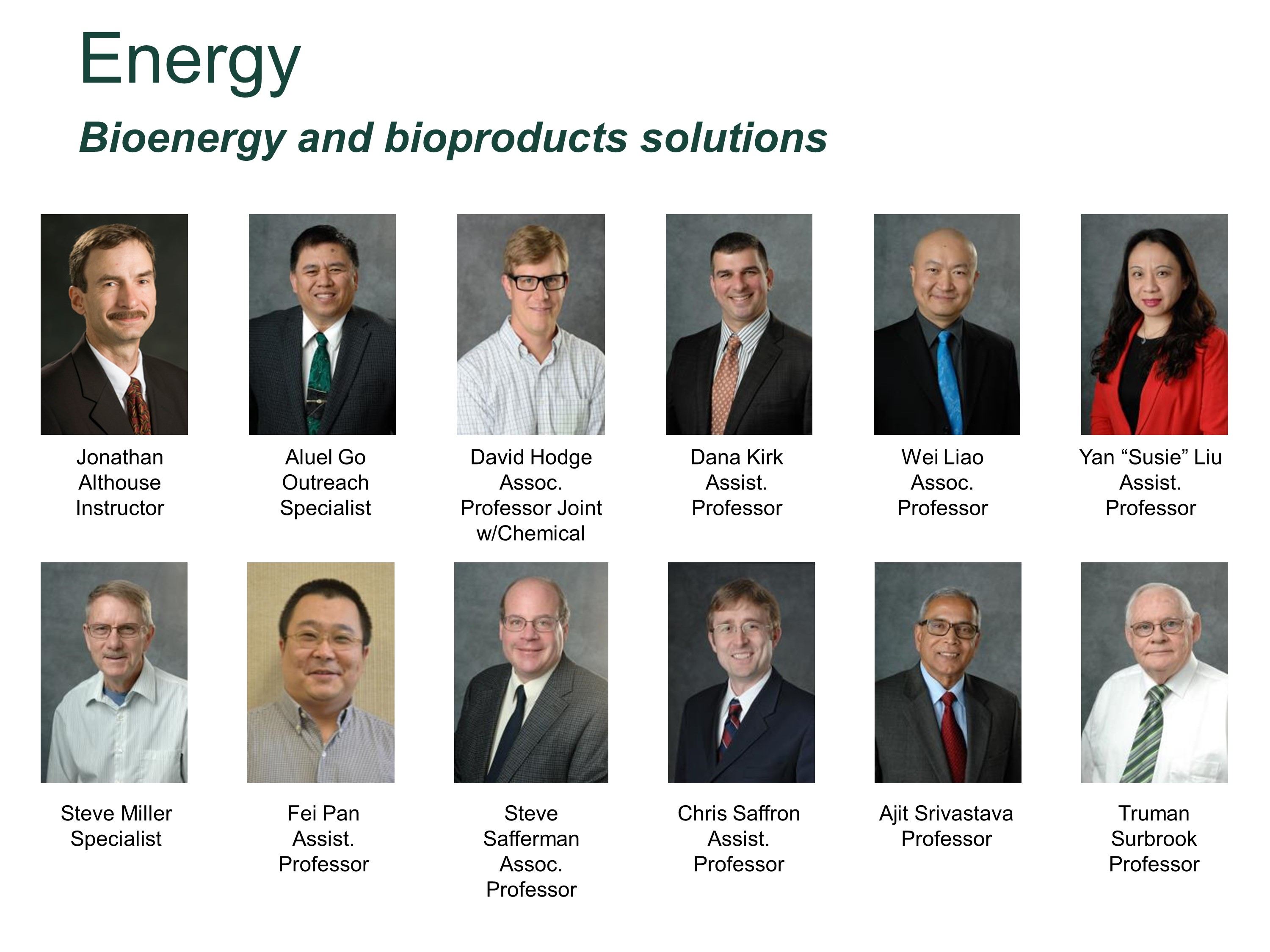 Bioenergy and Bioproducts Foci Faculty
