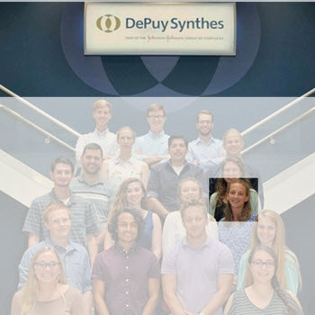 Photo of Morgan S. with the entire summer 2017 DePuy Synthes intern peer group