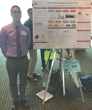 Photo of Matthew S. at summer 2017 Engineering Summer Undergraduate Research Experience (EnSURE) poster presentation