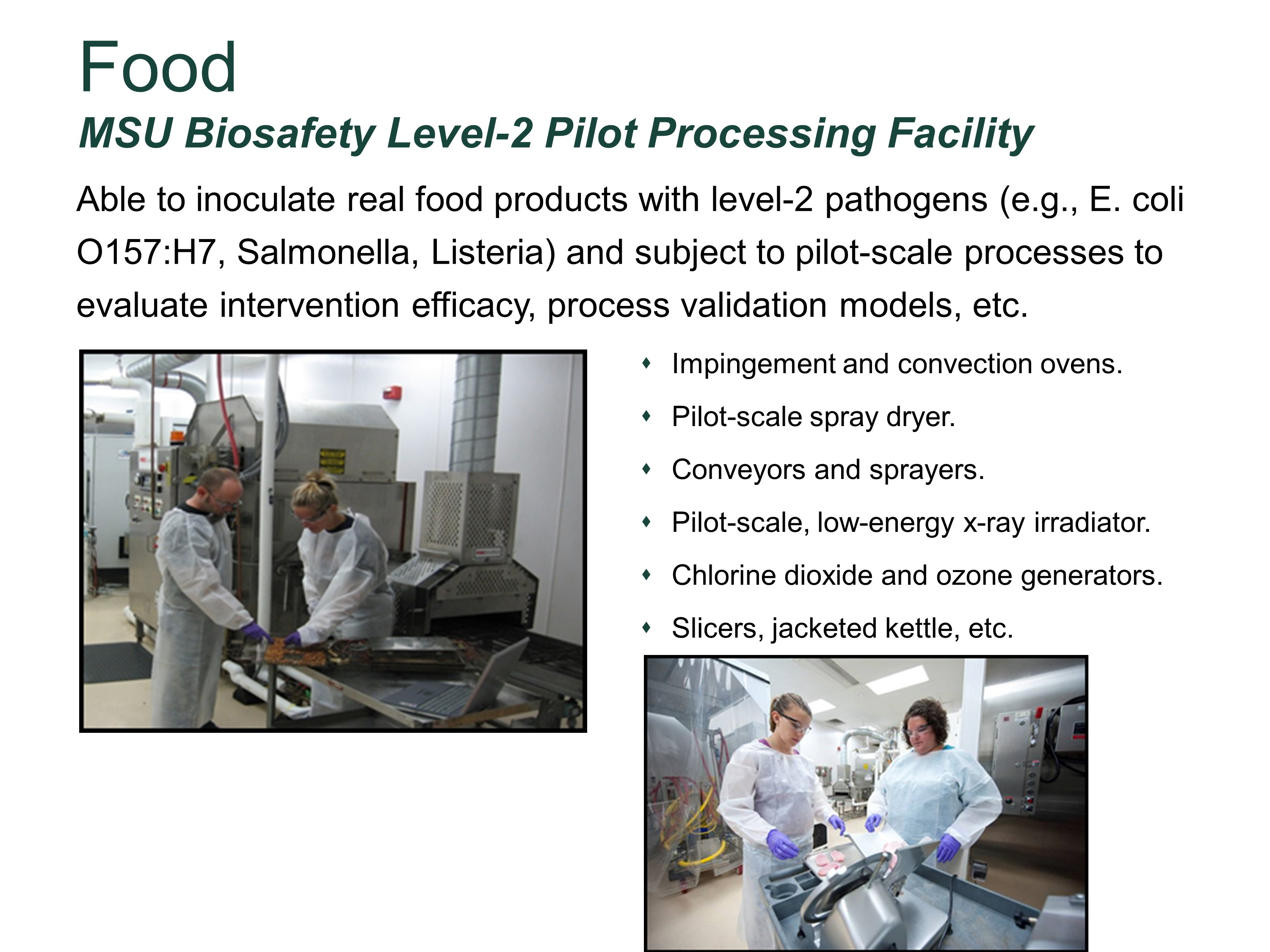 MSU Biosafety Level-2 Pilot Processing Facility