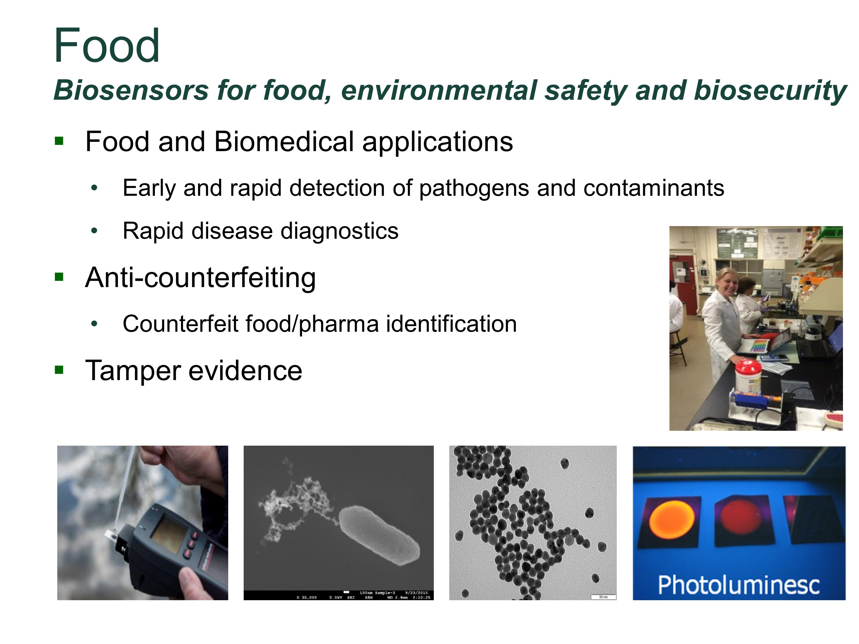 Biosensors for food, environmental safety and biosecurity