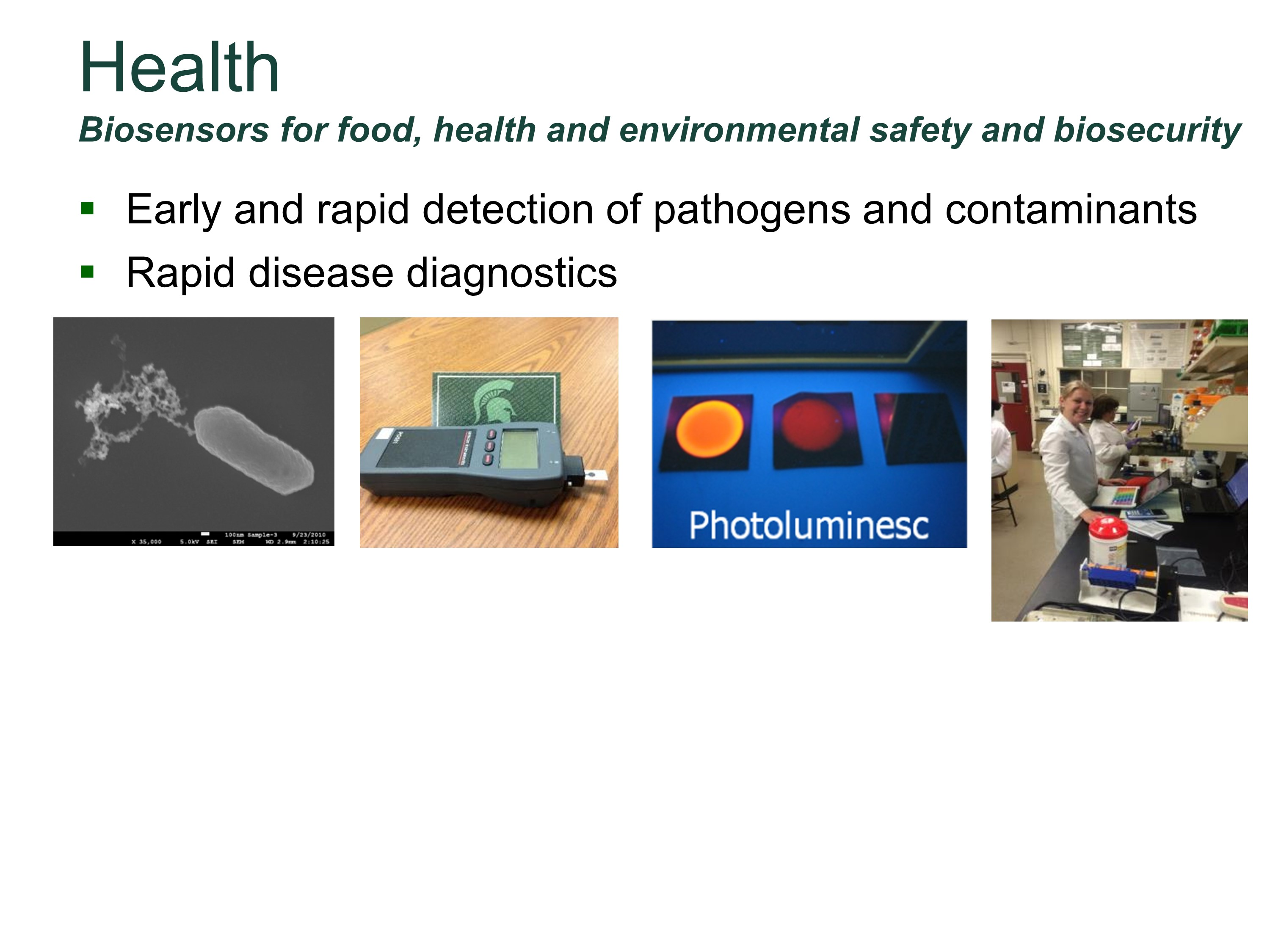 Biosensors for food, health and environmental safety and biosecurity