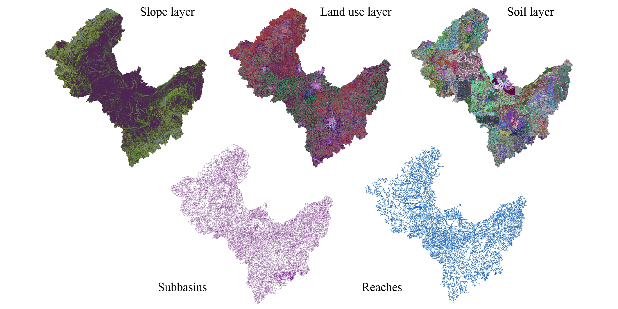 Photo of geospatical layers including slope, land use, soil type, subbasin boundaries, and river networks as used to build a biophysical model for the Saginaw River watershed in Michigan.