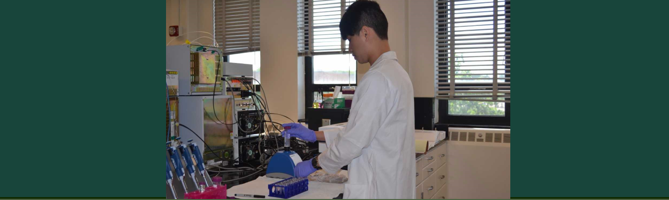 Picture of student in Dr. Medina Meza's lab