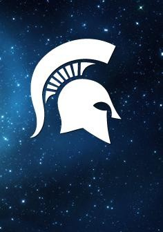 Graphic of the MSU Spartan Helmet in white on a dark blue background