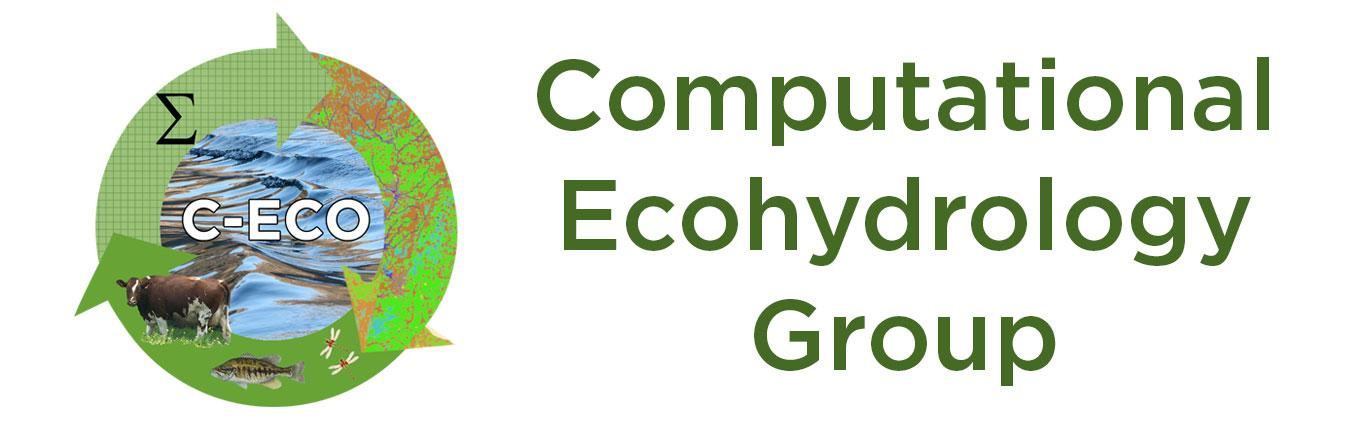 """Computational Ecohydrology Group"" with graphic of three arrows going in a circle around letters ""C-ECO"" centered over photo of water; below water photos of a cow, one fish and two red dragonflies"