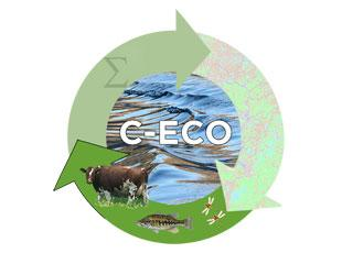 CECO logo with the sustainable ecosystem modeling lab highlighted; bright green upward pointing arrow with images of a cow, fish and two dragonflies.