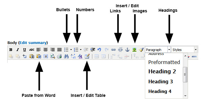 Screen shot of the Drupal 7 basic editing tools: bullets, numbers, insert/edit links and images, headings, paste from Word, insert / edit table
