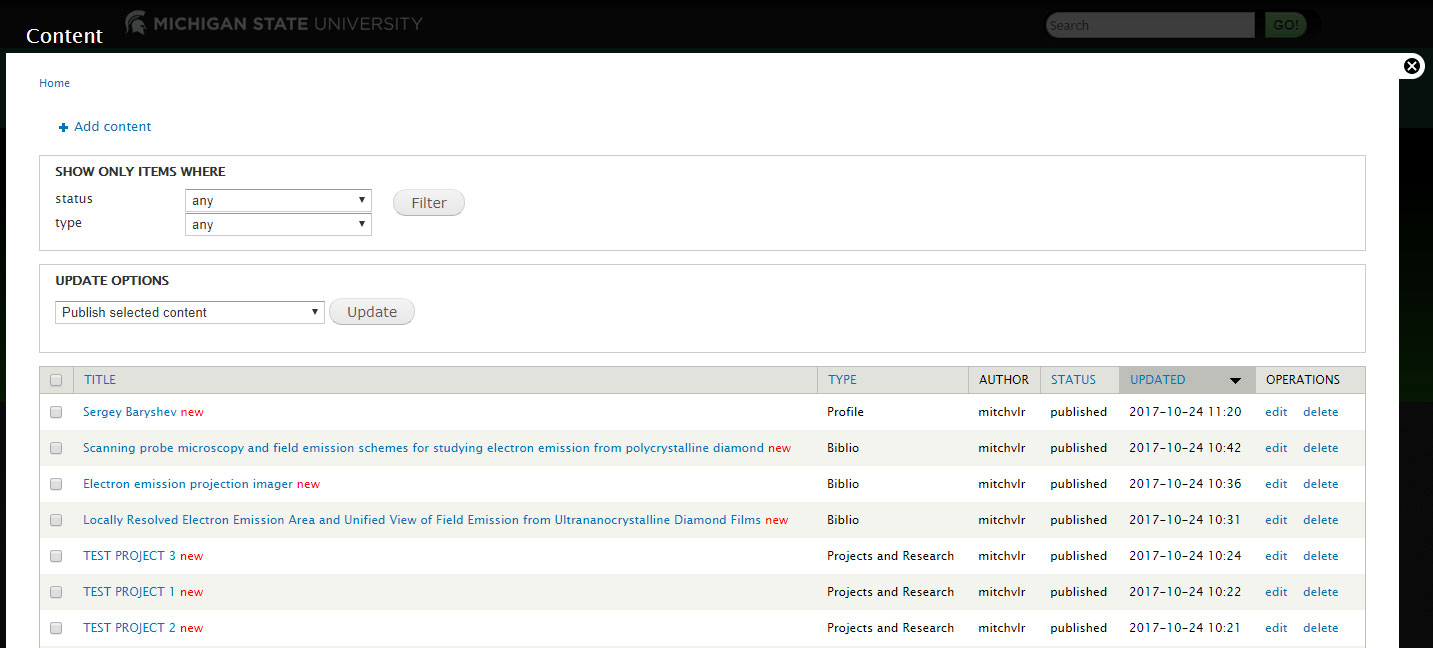 A screen shot of the Drupal 7 content management system list and sort / find functions.