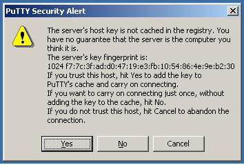Screeshot of a PuTTY Security Alert window