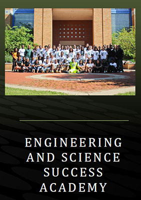 Cover of the DPO ESSA brochure, group photo in front of the Engineering Building (south facing side)