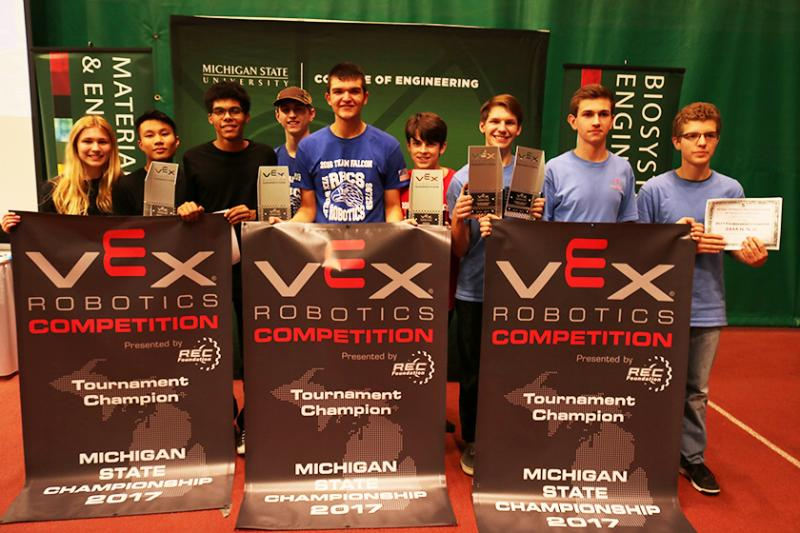 A three-team alliance from Bloomfield Hills, Grandville, and Rochester won the tournament at the 2017 Michigan VEX Robotics High School State Championship on Sunday, Feb. 19. The teams qualified to compete at VEX Robotics world games in Kentucky in April.