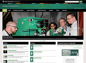 Screen shot of the Chemical Engineering & Materials Science website homepage