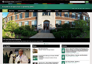 Screen shot of the Biosystems & Agricultural Engineering homepage