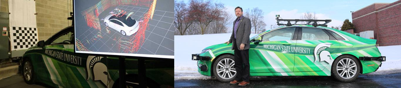 Two photos side by side of the Connected and Autonomous Networked Vehicles for Active Safety (CANVAS) car; Dr. John Verboncoeur standing with the CANVAS car on the right.