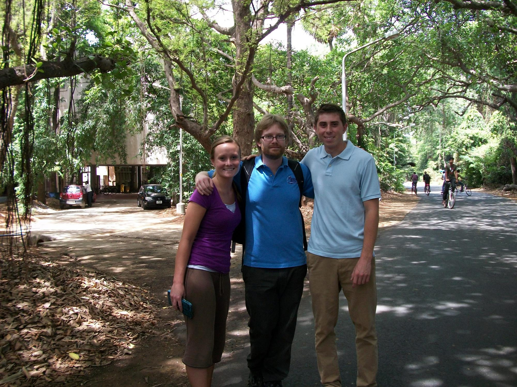 Cori, Eric and Jake at ITTs campus in Chennai, India