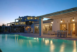 Photo of a building and outdoor pool in Tinos Greece