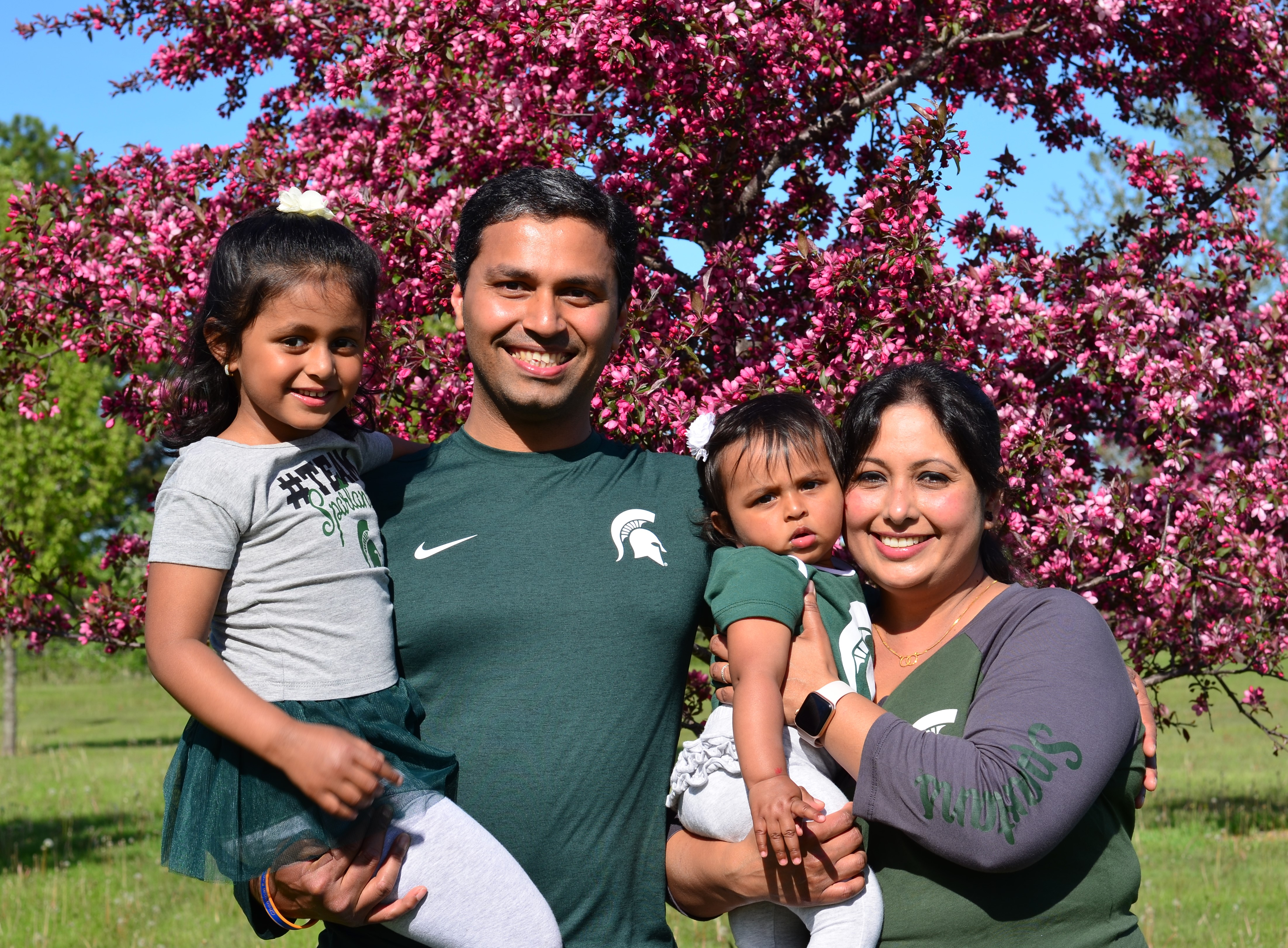 The Bambhania family is Spartan green: Harleen, 4, Harshal (M.S. '11), Ashleen, 1, and Deboleena Chakraborty (PhD. '10).