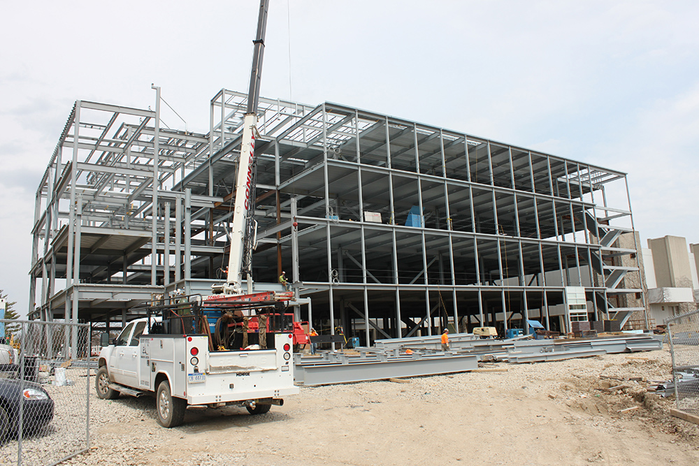 Photo of the construction of the 130,000-square-foot Bio Engineering Facility