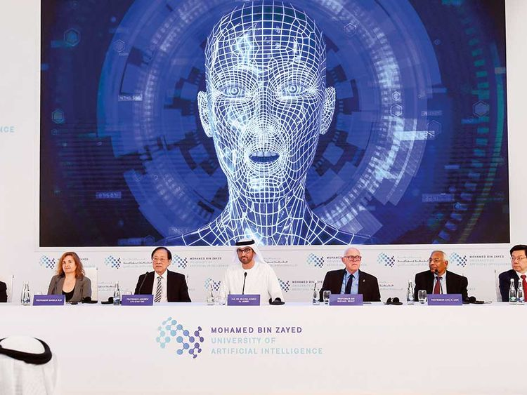 Dr Sultan Ahmad Al Jaber with Professor Sir Michael Brady, Dr Kai Fu Lee, Professor Anil K. Jain, Professor Andrew Chi Chin Yao, Professor Daniela Rus and Peng Xiao addressing media at the launch of the Mohammad Bin Zayed University of Artificial Intelligence in Abu Dhabi.