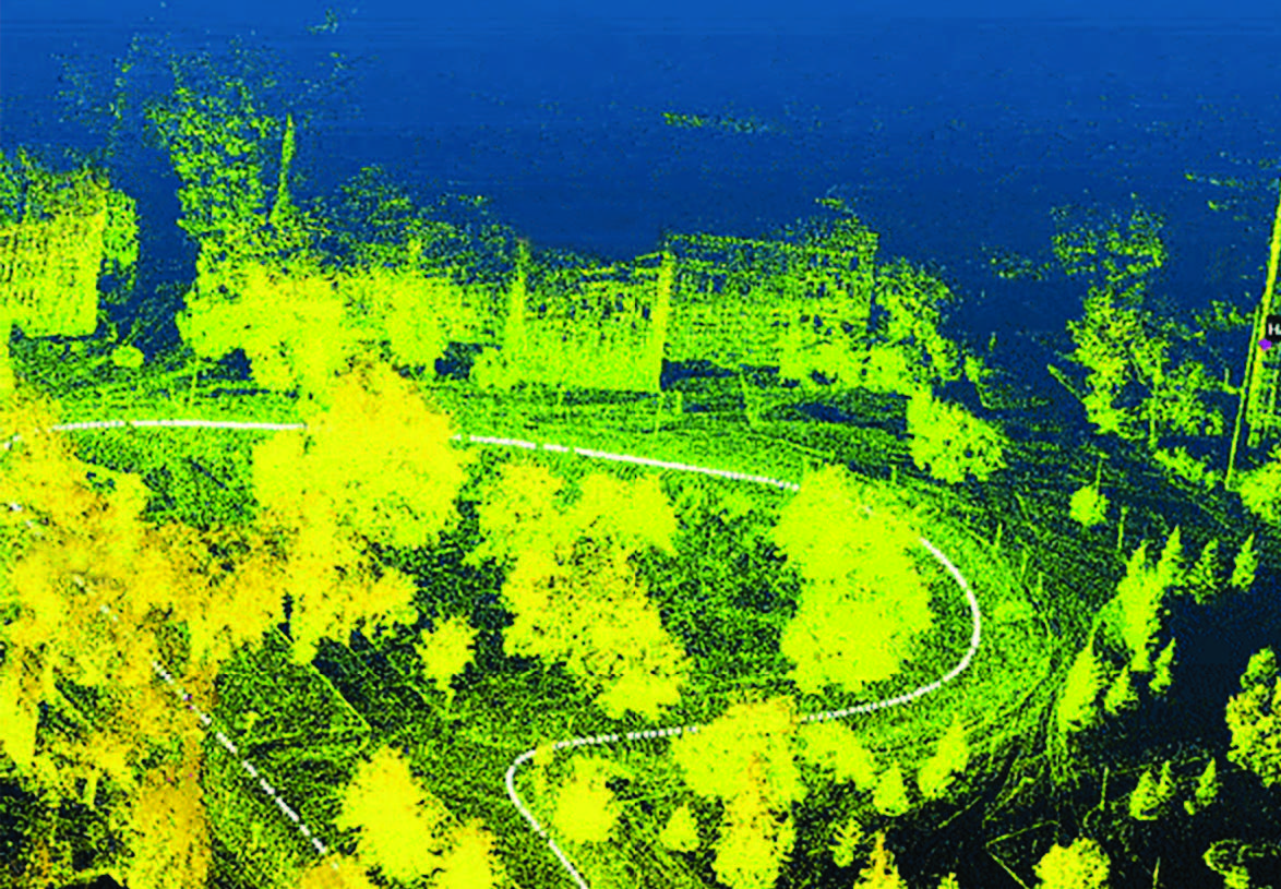 Lidar detection technology captures a precise 3D image of MSU's West Circle Drive.
