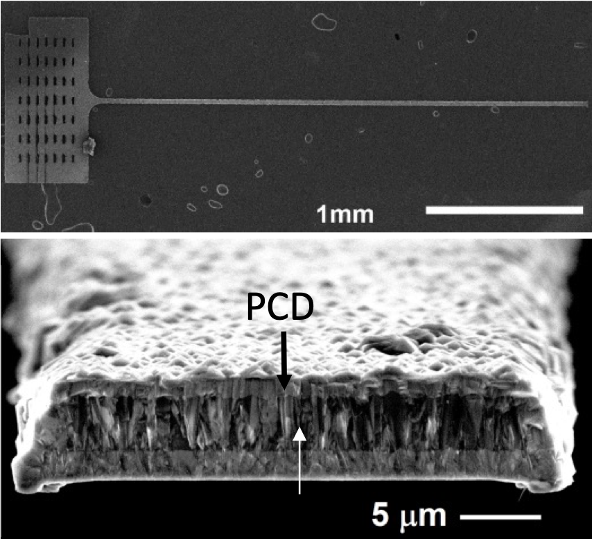 Top: SEM images of a diamond microfiber. Bottom: The cross-sectional view of a microfiber with the core dimensions of ~17.4 µm in width and ~3.7 µm in thickness. Courtesy of Wen Li.