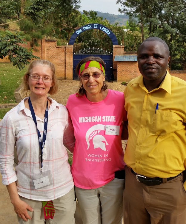 Louise Hemond-Wilson '86, Laura Dillon and John Bosco were among those who combined talents to deliver a robotics and computing curriculum in Rwanda.