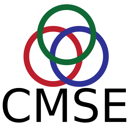 "Art graphic of three overlapping circles, green, red and blue with the letters ""CMSE"" below"