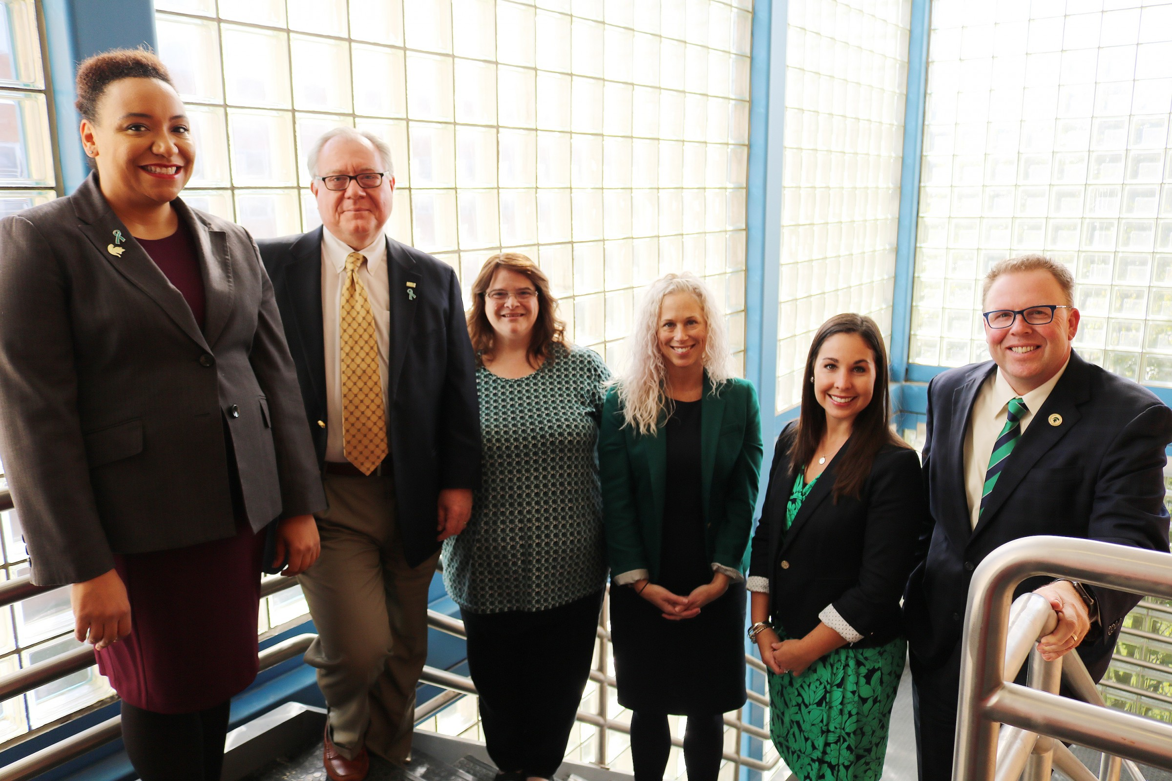 The college's development team members are (from left) Nicole Proctor-Kanyama, Stephen Bates, Shelly Jackson, Jennifer Jennings, Kaleigh Jaeger-Hale, and Marty Bailey.