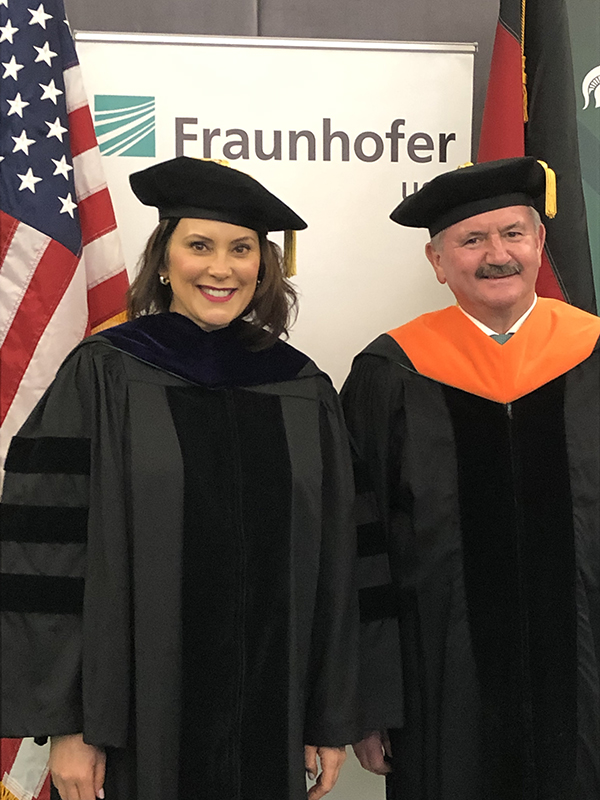 Michigan Governor Gretchen Whitmer and Reimund Neugebauer, president of the Fraunhofer-Gesellschaft, met prior to MSU Commencement services on May 3.