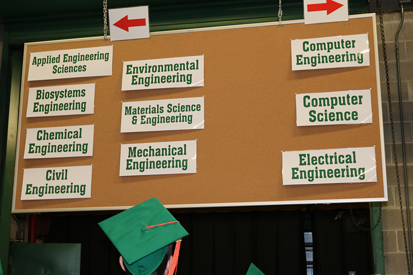 Engineering major directional signs at Commencement
