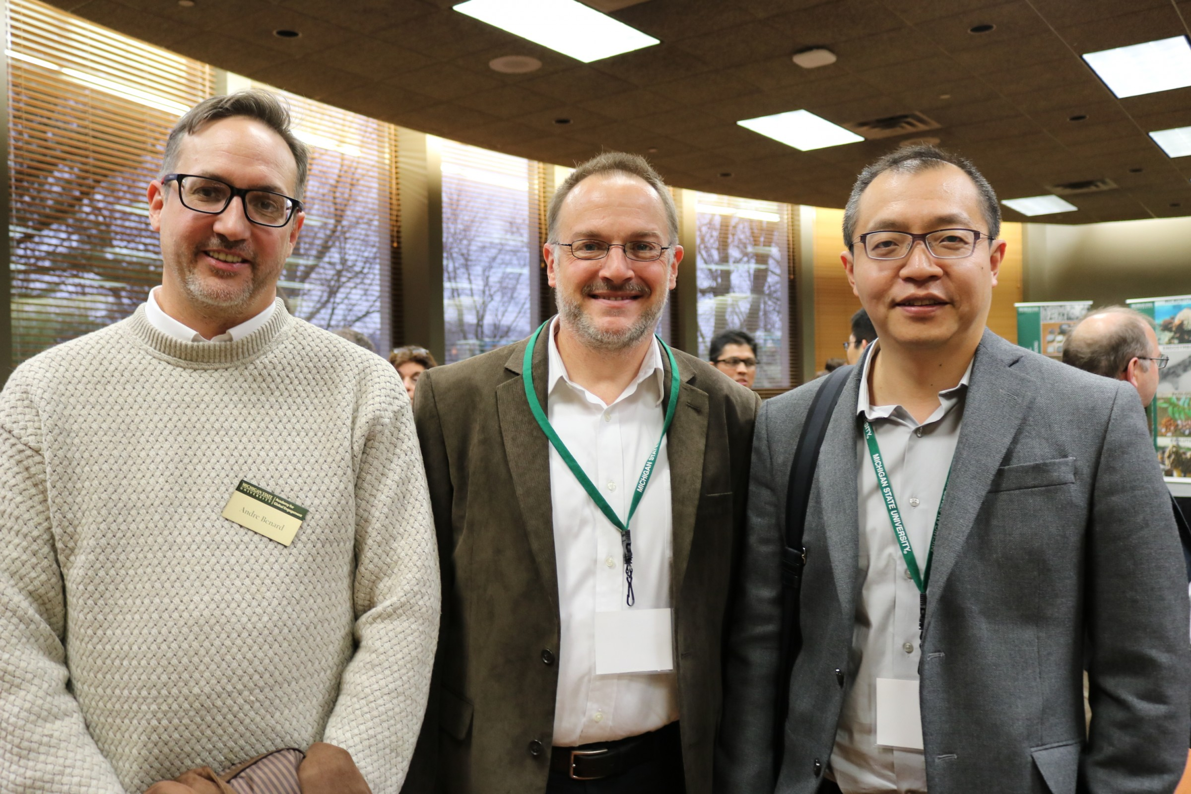 2017 AGE fellow Andre Benard was welcomed by 2016 fellows Scott Calabrese Barton and Wei Lai during the Global Innovation Forum on Dec. 5 in the Kellogg Center.