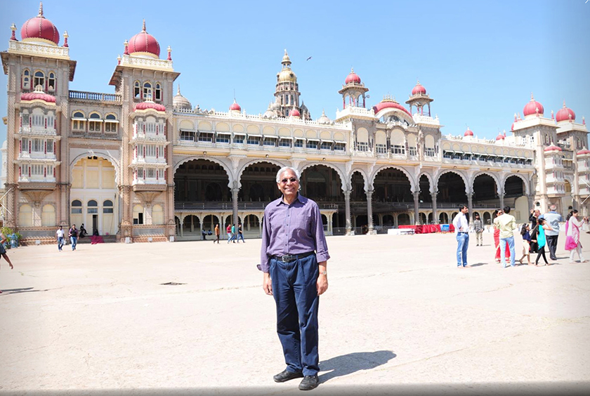 Renowned biometrics expert Anil Jain has been elected a Foreign Fellow by the Indian National Academy of Engineering. Here, he stands in front of the famous Mysore Palace in Mysore, India, in January 2016.