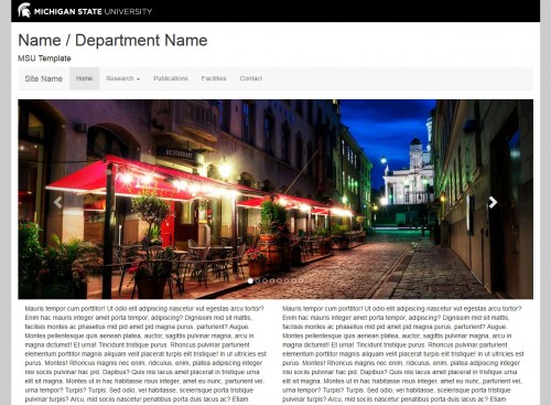 Screen shot of a MSU HTML template, feature photo is of a city street in the evening