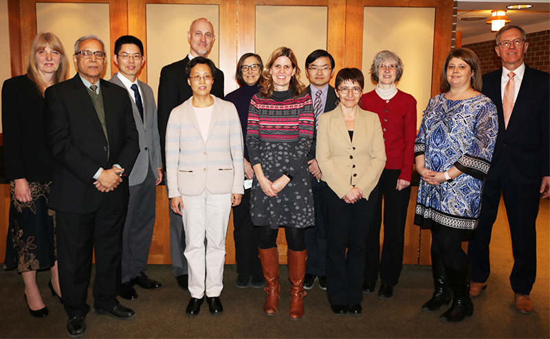 Eleven members of the college received top honors March 15 at the 2018 Engineering Awards Luncheon. (Back, l to r) Patte Hahn, Xiaobo Tan, Bradley Marks, Laura Dillon, Xiaoming Liu, Susan Masten, Amanda Idema and emcee Tom Voice; (front) Ajit Srivasatava, Tongtong Li, Tamara Reid Bush, and Maddalena Fanelli.