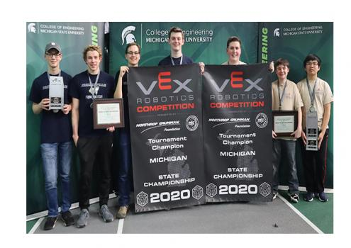 High school teams from Hudsonville and Grandville take top honors at state VEX Robotics finals at MSU.