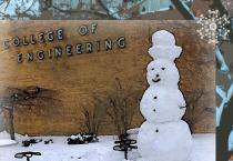 snowman outside of Engineering Building