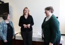 Sandy Christlieb (left) and Judy Cordes (right) from MSU Women in Engineering share a light moment with Lynn Frostman (BS CHEM EGR '90) during her recent visit to campus. She and her husband, Mike, have created the Frostman and ZumMallen Scholarship for Engineering.