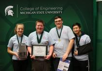 Zipties of Grandville won the coveted VEX Robotics Excellence Award at the 2019 VEX Robotics state championship, hosted by MSU on Feb. 24.