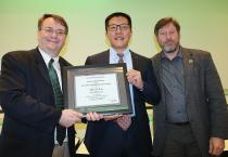 Dean Leo Kempel and Associate Dean John Verboncoeur presented the 2019 Withrow Distinguished Scholar - Senior Award to Alex Liu, professor of computer science and engineering.