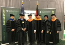 Celebrating the relationship between Fraunhofer USA and MSU during Commencement on May 3, 2019, were (from left) Thomas Schuelke, Acting MSU President Satish Udpa, Reimund Neugebauer, president of Fraunhofer-Gesellschaft, and John Albrecht, Dean Leo Kempel and John Papapolymerou.