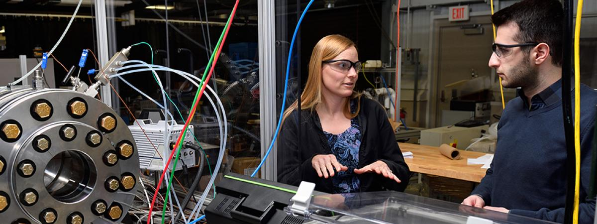 Elisa Toulson and Berk Can Duva have created new equipment to investigate flame and ignition characteristics of renewable and alternative fuels.