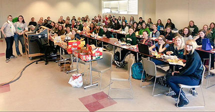 Photo of the Society of Women Engineers at their biweekly group meeting.
